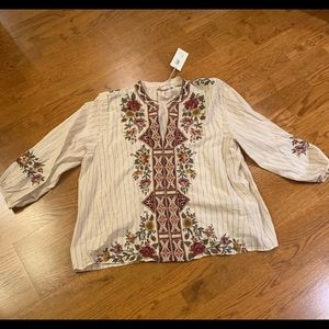 JOHNNY WAS TUNIC 3/4 length sleeves